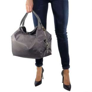 Borbonese Hobo Medium in Jet OP Grigio 934451296Q80 2