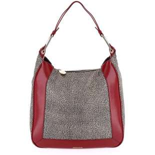 Borbonese Hobo Medium in Jet OP Naturale/Bordeaux 934458H78T82