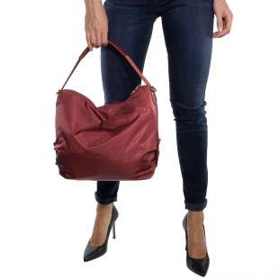 Borbonese Hobo Medium in Jet OP Burgundy 934460296T09 2